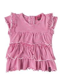 ZieZoo Rüschen-Kleidchen in pink/ weiß